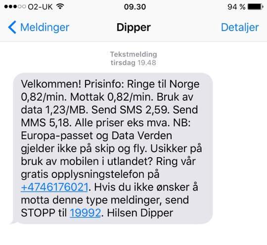 SMS fra dipper
